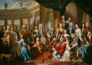 Familieportret van landgraaf Karl van Hessen-Kassel (1654-1730) en zijn familie met zelfportret van de kunstenaar