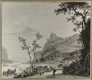 Heuvelachtig rivierlandschap met het laden/lossen van boten aan de oever
