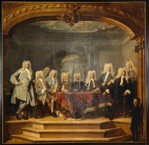 Portret van de regenten van het Aalmoezeniersweeshuis in Amsterdam