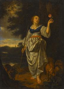 Jonge herderin met een roos in haar hand, in een landschap