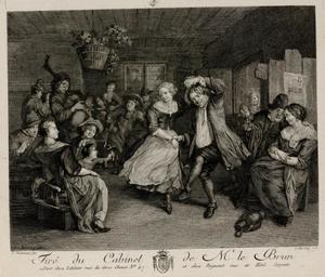 Feestend boerengezelschap in interieur, met een dansend paar