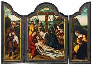 Jozef van Arimathea (binnenzijde links), de kruisafneming (midden); de H. Maria Magdalena (binnenzijde rechts)