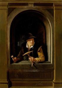 Vrouw in een venster met een haspel en een klos garen in haar handen