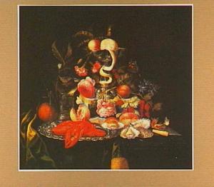 Pronkstilleven met bloemen, vruchten, oesters en kreeftjes
