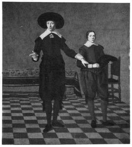Portret van een jonge man en een jongen in een interieur