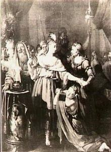 De dood van Sophonisba: zij drinkt de gifbeker van Masinissa leeg, haar door een bediende aangereikt