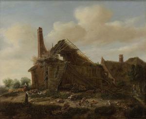 Landschap met ingestort huis