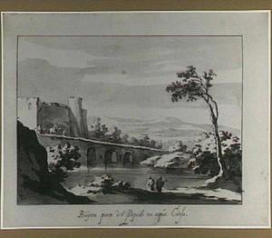 Heuvellandschap met stenen brug over een rivier