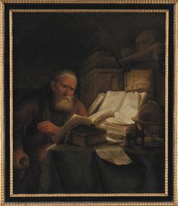 Oude lezende man