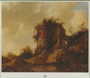 Landschap met een ruïne aan een rivier
