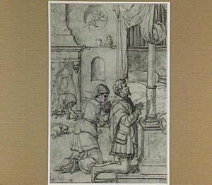 De jonge Tobias en Sara biddend voor hun huwelijksnacht (Tobias 8)
