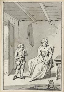 Illustratie voor 'Het medelijden' in de Kleine gedichten voor kinderen door H. van Alphen
