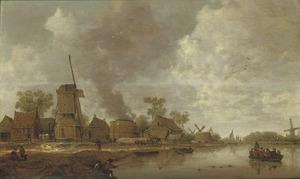 Rivierlandschap met molens en kalkovens