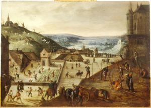 Timmerlieden, landarbeiders en tuinlieden aan de arbeid in een dorp bij een kasteel op een berg