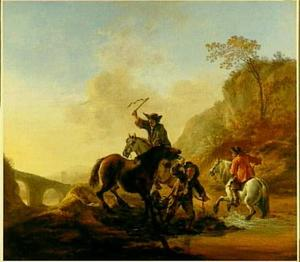 Ruiters proberen een onwillig paard een riviertje over te doen steken
