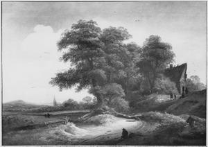 Landschap met herberg onder een groep bomen