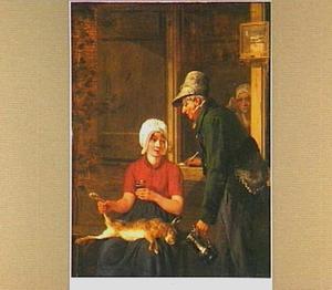 Oude man met een kan benadert een jonge vrouw met een dode haas op schoot