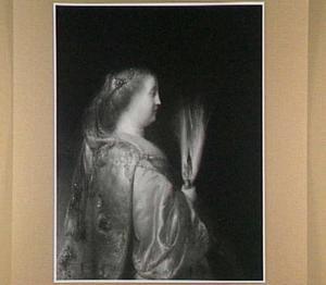 Portret van een vrouw in Orientaalse dracht met veren waaier, en profil