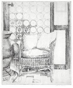 't Woold, de stoel van Gerard Wiarda naast een kachel I