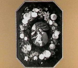Bloemenkrans rond een Madonna met kind en de Heilige Catharina