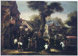 Dorpsgezicht met een menigte personen rond een boodschapper die een proclamatie voorleest