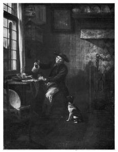 Keukeninterieur met een man bij een tafel die zich een glas bier inschenkt