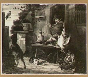 Boerenerf met groente en gevogelte, rechts een man die uit het ventster leunt
