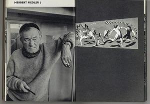 Kunstenaarsportret van Herbert Fiedler met sgraffito 'Kinderspelletjes'