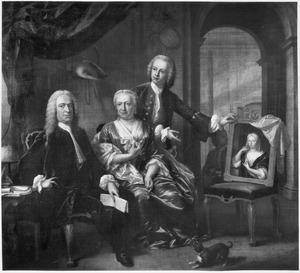 Portret van Cornelis Hop (1685-1762) en zijn zoon, zijn tweede echtgenote en met een portret van zijn eerste echtgenote
