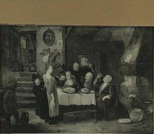 Interieur van een herberg met een etend en drinkend boerengezelschap