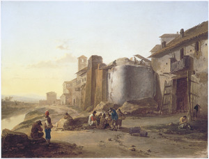 Gezicht op een Romeinse stadsmuur (bij de Ripa Grande?)