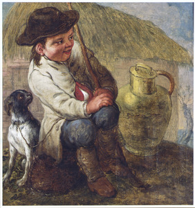 Zittend jongetje met hond en melkbus