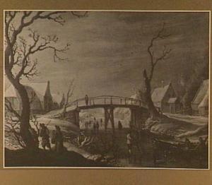 Winterlandschap met brug