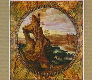 Rotslandschap met de verzoeking van Christus door Satan (Marcus 1:13)