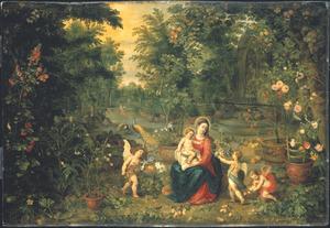 Maria met kind en engelen in een tuin