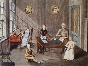 Portret van een familie, genaamd de familie Thorbecke