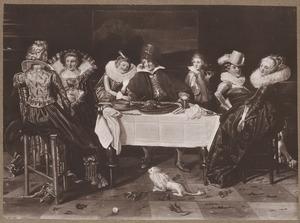 Elegant gezelschap aan tafel in een interieur