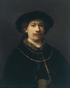 Zelfportret met baret en twee gouden kettingen