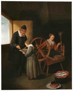 Interieur met een schoolmeester die een kind leert lezen, met een spinnende vrouw op de achtergrond