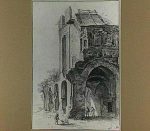 De ruïne van de abdij te Rijnsburg vanuit het zuidoosten