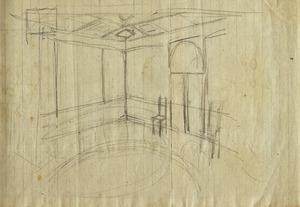 Interieurontwerp (detail): perspectiefschetsje van kamerinterieur, ca. 1917