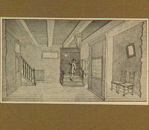 Amsterdam, interieur van de  Academie van Samuël Coster aan de Keizersgracht in 1637