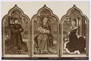 Jan de Witte, burgemeester van Brugge (links), Maria met kind (midden), Maria Hoose, echtgenote van Jan de Witte (rechts)