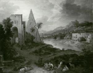 Italiaans landschap met pyramide bij een rivier