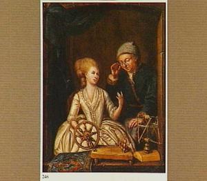 Een jonge vrouw met een spinnewiel en een toekijkende oude man