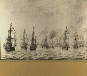 Zeeslag tegen de Spanjaarden bij Duinkerken, 18 feb 1639; overzicht van de schepen voor aanvang de zeeslag met van links naar rechts de 'Rotterdam', de 'Nassau', de 'Prins Hendrik', de 'Deventer' en de 'Aemilia'