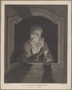 Oude vrouw met een kaars