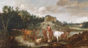 Arcadisch landschap met herders en hun kuddesnabij een kasteelruïne