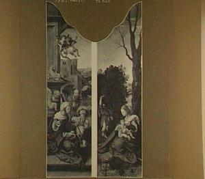 De aanbidding van de herders (links), de rust op de vlucht naar Egypte (rechts)