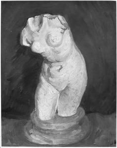 Beeld in gips: Vrouwelijke torso gezien van voren op een sokkel